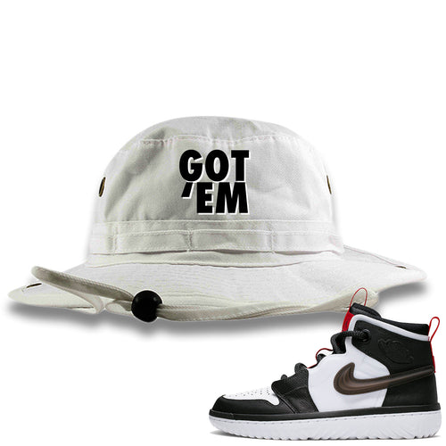 Air Jordan 1 High React White Black Sneaker Match Got Em White Bucket Hat