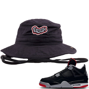 This black and grey bucket hat will match great with you Air Jordan 4 Bred shoes