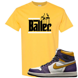 Nike SB x Air Jordan 1 OG Court Purple Sneaker Hook Up Baller Yellow T-Shirt