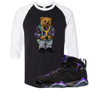 Air Jordan 7 Ray Allen Sneaker Hook Up Sweater Bear Black and White Raglan T-Shirt