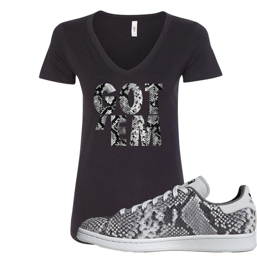 Adidas Stan Smith Grey Snakeskin Sneaker Match Got Em Black Women V-Neck T-Shirt