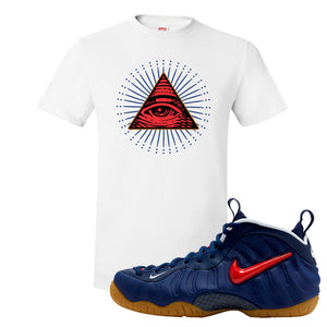Air Foamposite Pro USA T Shirt | White, All Seeing Eye
