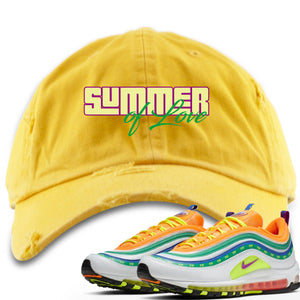 "Air Max 97 Summer of Love Sneaker Hook Up ""Summer of Love"" Yellow Distressed Dad Hat"