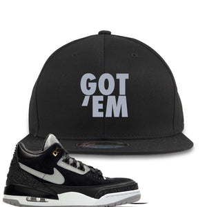 Air Jordan 3 Tinker Black Cement Sneaker Hook Up Got Em Black Snapback