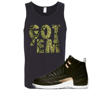 Jordan 12 WMNS Reptile Sneaker Hook Up Got Em Black Mens Tank Top