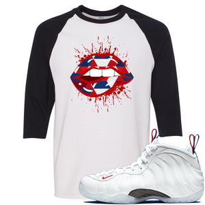 Nike WMNS Air Foamposite One USA Sneaker Hook Up Geometric Lips Splatter White and Black Raglan T-Shirt