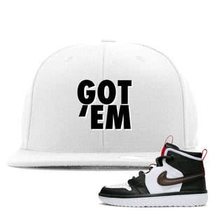 Air Jordan 1 High React White Black Sneaker Hook Up Got Em White Snapback