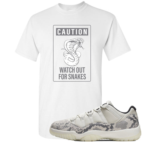 Air Jordan 11 Low Snakeskin Light Bone Sneaker Match Caution Snake White T-Shirt