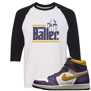 Nike SB x Air Jordan 1 OG Court Purple Sneaker Hook Up Baller White and Black Raglan T-Shirt