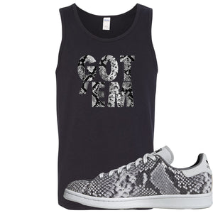 Adidas Stan Smith Grey Snakeskin Sneaker Hook Up Got Em Black Mens Tank Top