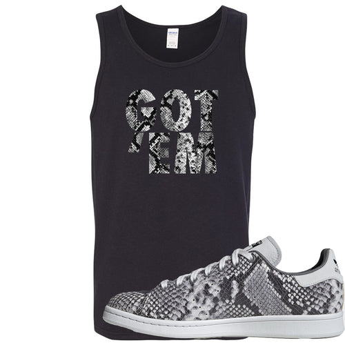 Adidas Stan Smith Grey Snakeskin Sneaker Match Got Em Black Mens Tank Top