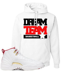 Air Jordan 12 FIBA Sneaker Hook Up Dream Team White Hoodie