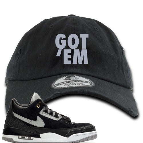 Air Jordan 3 Tinker Black Cement Sneaker Match Got Em Black Distressed Dad Hat