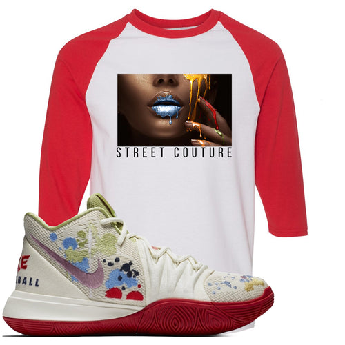 Bandulu x Nike Kyrie 5 Sneaker Match Street Couture White and Red Raglan T-Shirt