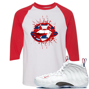 Nike WMNS Air Foamposite One USA Sneaker Hook Up Geometric Lips Splatter White and Red Raglan T-Shirt
