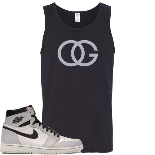 This black and grey tanktop will match great with your Nike SB x Air Jordan 1 Retro High OG Light Bone shoes