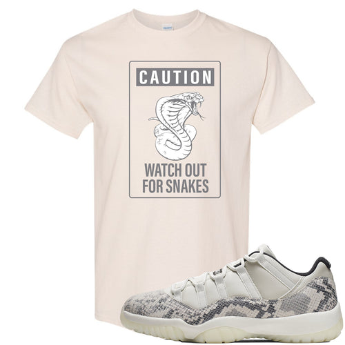 Air Jordan 11 Low Snakeskin Light Bone Sneaker Match Caution Snake Natural T-Shirt