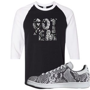 Adidas Stan Smith Grey Snakeskin Sneaker Hook Up Got Em Black and White Raglan T-Shirt