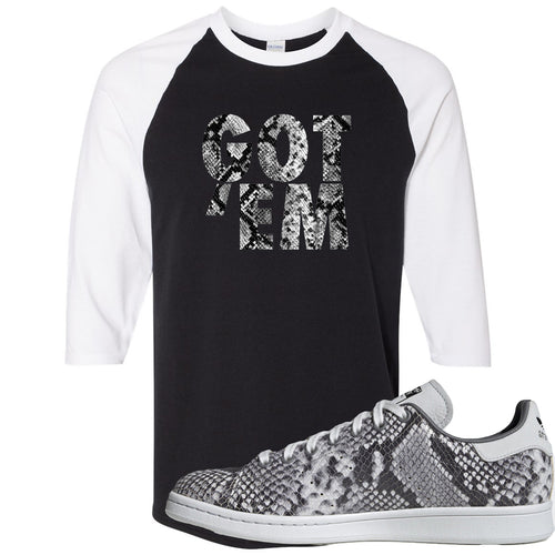 Adidas Stan Smith Grey Snakeskin Sneaker Match Got Em Black and White Raglan T-Shirt