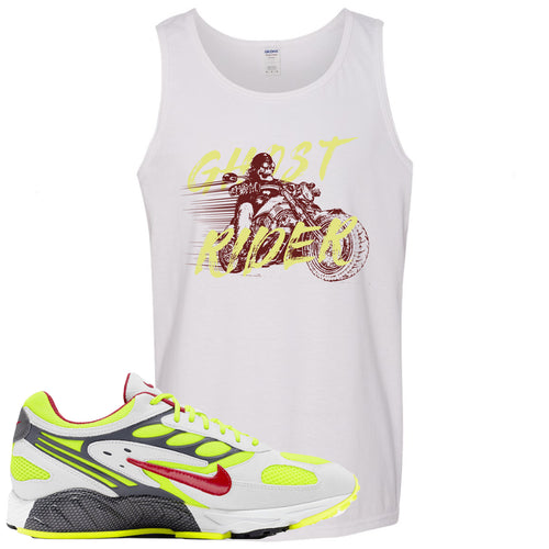 Nike Air Ghost Racer Neon Yellow Sneaker Match Ghost Rider White Mens Tank Top