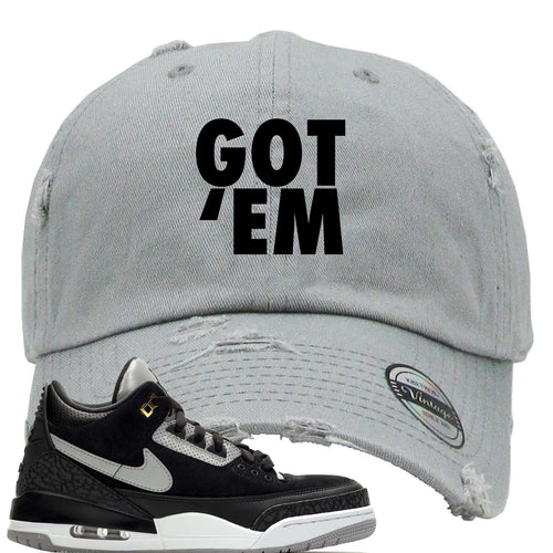 Air Jordan 3 Tinker Black Cement Sneaker Match Got Em Light Gray Distressed Dad Hat