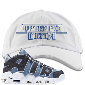 Nike Air More Uptempo Denim Sneaker Hook Up Stranger Things White Distressed Dad Hat