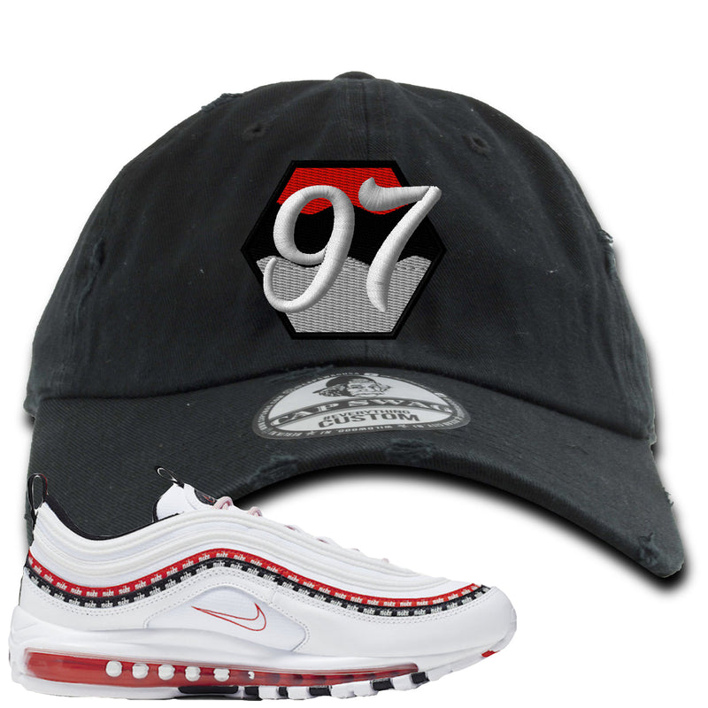 Nike Air Max 97 White University Red Sneaker Hook Up 97 Black Distressed Dad Hat