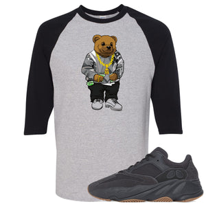 Yeezy Boost 700 Utility Black Sneaker Hook Up Sweater Bear Sports Grey and Black Raglan T-Shirt