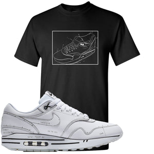 Nike Air Max 1 Sketch to Shelf White Sneaker Hook Up Blue Print Black T-Shirt
