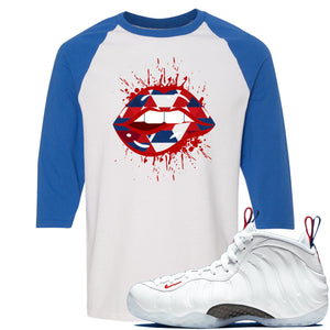 Nike WMNS Air Foamposite One USA Sneaker Hook Up Geometric Lips Splatter White and Blue Raglan T-Shirt