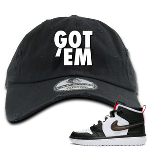 Air Jordan 1 High React White Black Sneaker Hook Up Got Em Black Distressed Dad Hat