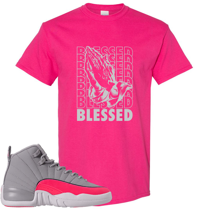 Air Jordan 12 GS Grey Pink Sneaker Hook Up Blessed Heliconia T-Shirt