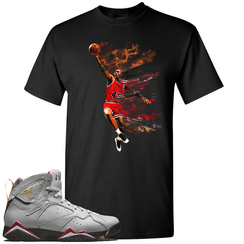 Air Jordan 7 Reflections of a Champion Sneaker Match Jordan Dunking Black T-Shirt