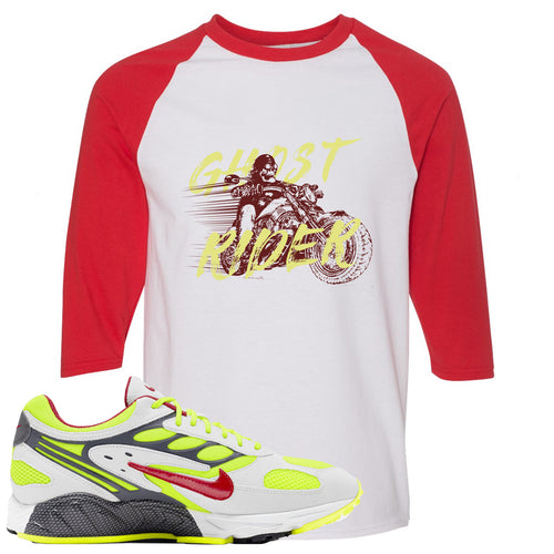 Nike Air Ghost Racer Neon Yellow Sneaker Match Ghost Rider White and Red Raglan T-Shirt
