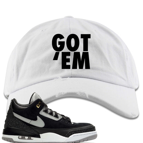 Air Jordan 3 Tinker Black Cement Sneaker Match Got Em White Distressed Dad Hat