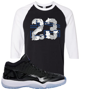 Air Jordan 11 Low IE Space Jam Sneaker Hook Up 23 Arms Black and White Raglan T-Shirt