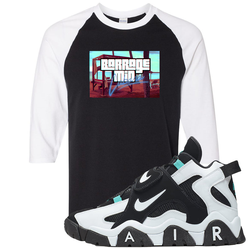 Nike Air Barrage Mid Cabana Sneaker Hook Up Cabana Black and White Raglan T-Shirt