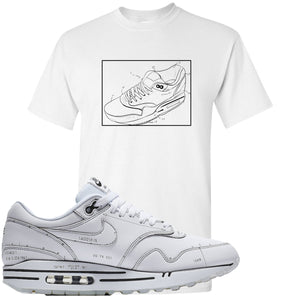 Nike Air Max 1 Sketch to Shelf White Sneaker Hook Up Blue Print White T-Shirt