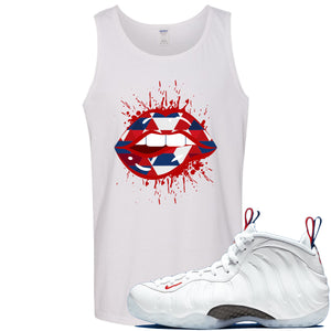 Nike WMNS Air Foamposite One USA Sneaker Hook Up Geometric Lips Splatter White Mens Tank Top