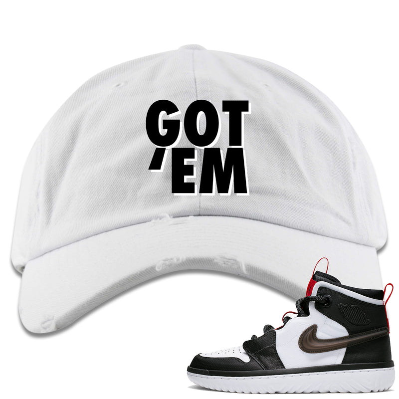 Air Jordan 1 High React White Black Sneaker Hook Up Got Em White Distressed Dad Hat