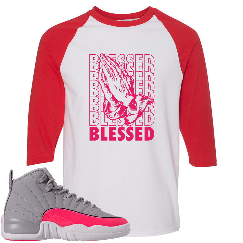 Air Jordan 12 GS Grey Pink Sneaker Hook Up Blessed White and Red Raglan T-Shirt