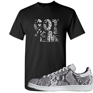 Adidas Stan Smith Grey Snakeskin Sneaker Hook Up Got Em Black T-Shirt
