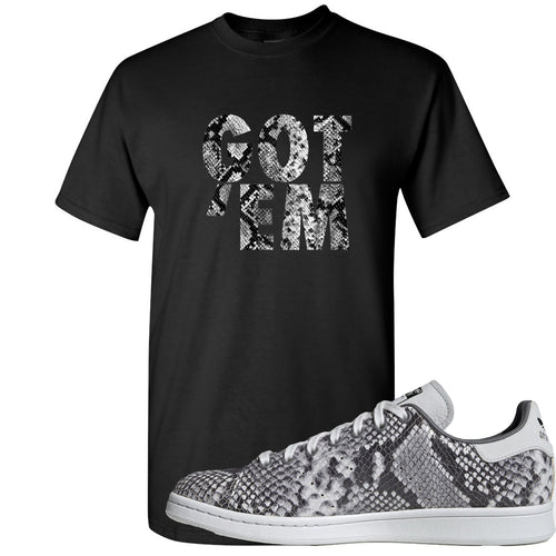 Adidas Stan Smith Grey Snakeskin Sneaker Match Got Em Black T-Shirt