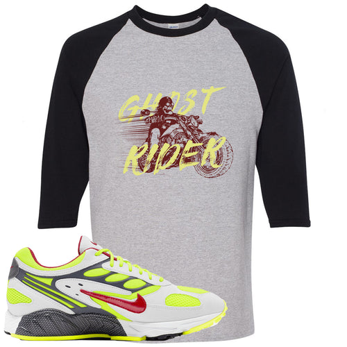 Nike Air Ghost Racer Neon Yellow Sneaker Match Ghost Rider Sports Grey and Black Raglan T-Shirt