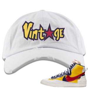 Air Max Sacai Blazer Mid Varsity Maize Sneaker Hook Up Vintage with Star Logo White Distressed Dad Hat