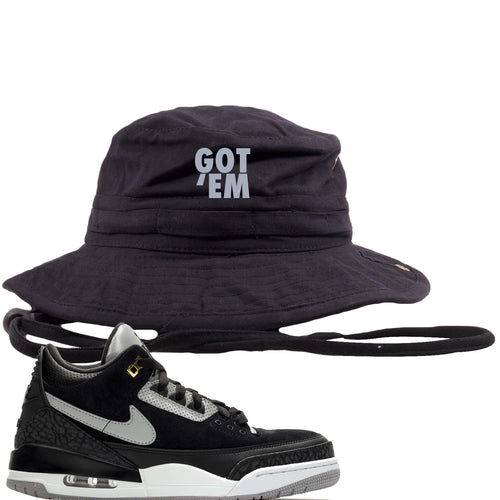 Air Jordan 3 Tinker Black Cement Sneaker Match Got Em Black Bucket Hat