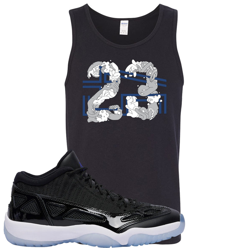 Air Jordan 11 Low IE Space Jam Sneaker Hook Up 23 Arms Black Mens Tank Top