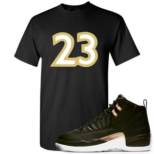 "Jordan 12 WMNS Reptile Sneaker Hook Up ""23"" Black T-Shirt"