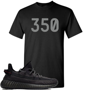 "Adidas Yeezy Boost 350 v2 Black Sneaker Hook Up ""350"" Black T-Shirt"
