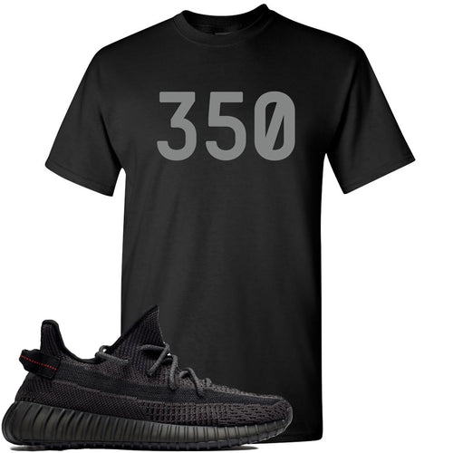 "Adidas Yeezy Boost 350 v2 Black Sneaker Match ""350"" Black T-Shirt"